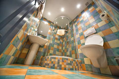Modern bathroom. Wide angle view from below Stock Photo