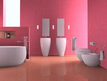 Modern bathroom. 3D rendering of a modern bathroom Royalty Free Stock Photos