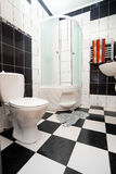 Modern bathroom. Modern black and white bathroom royalty free stock images