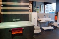 Modern Bathroom. Picture of modern and trendy bathroom, horizontal shot Stock Photo