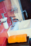 Modern Bathroom. Picture of modern and trendy bathroom, vertical shot Stock Photography