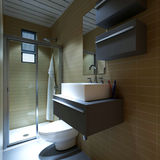 Modern bathroom. 3D rendering of a modern bathroom Royalty Free Stock Images