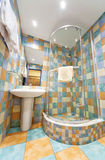 Modern bathroom. Wide angle view Stock Photos