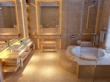 Modern bathroom. 3D rendering of a modern bathroom Royalty Free Stock Image