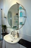 Modern Bathroom. New bathroom with contemporary mirror and fittings Royalty Free Stock Photos