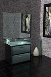 Modern bathroom. 3D rendering of a modern bathroom with glass vanity Stock Photography