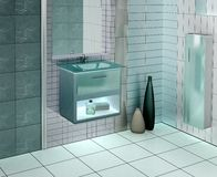 Modern bathroom. 3D rendering of a modern bathroom with glass vanity. The photo on the wall is my own photograph royalty free illustration