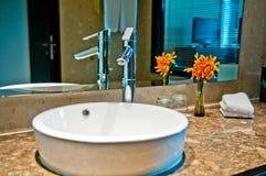 Modern Bathroom. A modern bathroom with chrome and marble Stock Photography