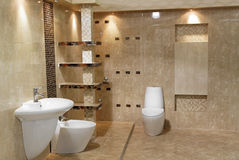 Modern bathroom. Minimalist modern bathroom style of luxury  interior Royalty Free Stock Photo
