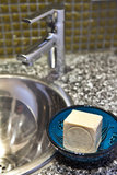 Modern bathroom. Tab with natural herbal soap royalty free stock photo