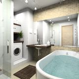 Modern bathroom. 3D render Royalty Free Stock Photography