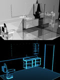Modern bathroom (3D xray blue transparent) collage Stock Photos