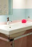 Modern bathroom. Blue modern bathroom in a house Stock Photos
