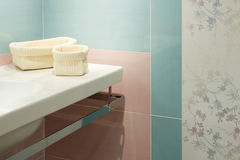 Modern bathroom. Detail of blue modern bathroom in a house Royalty Free Stock Photography