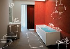 Modern Bathroom. Rendering of modern Bathroom in 5 star hotel _ project vector illustration