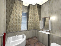 Modern bathroom. 3d render, exclusive design royalty free illustration