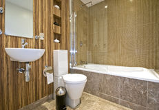 Modern bathroom. With marble tiles and hard wood elements royalty free stock image