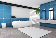 Modern Bathroom Aquamarine Interior. Bathroom interior with modern fixtures, bathtub and contemporary design with aquamarine granite tiles and wooden floor, 3d Stock Photo