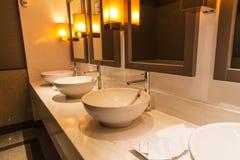 Modern bathroom with  basin Stock Photos