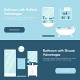 Modern bathroom. Bathroom interiors horizontal flat banner set. Stock Photo