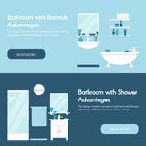 Modern bathroom. Bathroom interiors horizontal flat banner set. Bathtub and shower advantages. Royalty Free Stock Photo