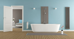 Modern bathroom with bathtub and shower Stock Photo
