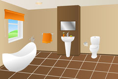 Modern bathroom beige brown bath orange towel sink toilet window illustration Stock Photo