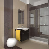 Modern bathroom with beige and brown tiles Stock Image