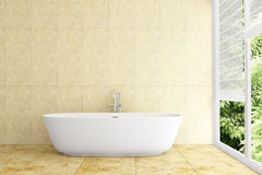 Modern bathroom with beige tiles on wall stock illustration