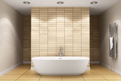 Modern bathroom with beige tiles on wall Stock Images