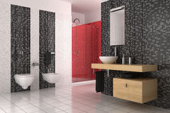 Modern bathroom with black, red and white tiles Royalty Free Stock Photography