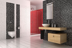 Modern bathroom with black, red and white tiles. Contemporary bathroom with black, red and white tiles Stock Photography