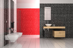 Modern bathroom with black, red and white tiles Stock Photography