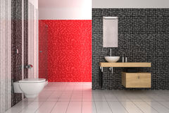 Modern bathroom with black, red and white tiles. Contemporary bathroom with black, red and white tiles Royalty Free Stock Image