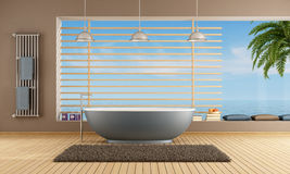 Modern Bathroom with blue bathtub Stock Images