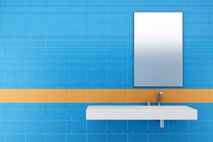 Modern bathroom with blue and orange tiles Royalty Free Stock Photos