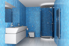 Modern bathroom with blue tiles on wall Royalty Free Stock Image