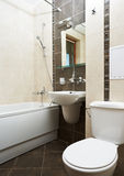 Modern bathroom in brown color Royalty Free Stock Photo