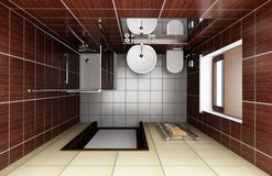 Modern bathroom with brown tiles. top view Royalty Free Stock Photos