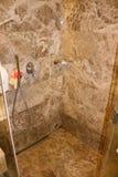 Modern bathroom with cabin. Marble bathroom. royalty free stock photography