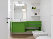 Modern bathroom with colorful furniture