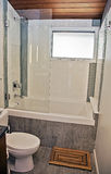 Modern bathroom. With concrete floor and vertically tiled tub and shower royalty free stock photo