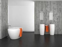 Modern bathroom with concrete wall and dark floor. Modern bathroom with double basin concrete wall and dark floor stock illustration