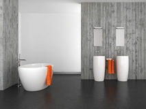 Modern bathroom with concrete wall and dark floor. Modern bathroom with double basin concrete wall and dark floor Royalty Free Stock Image