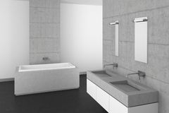Modern bathroom with concrete wall and dark floor. Modern bathroom with double basin concrete wall and dark floor royalty free illustration