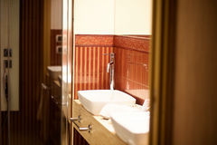 Modern bathroom in cool style with glass shower Royalty Free Stock Images