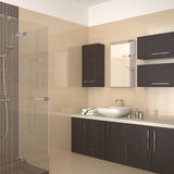 Modern bathroom with dark wood equipment. Modern bathroom with beige tiles and dark wood equipment Royalty Free Stock Images