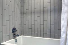 Modern bathroom design featuring grey vertical shower surround. stock image