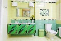 Modern bathroom design in green colors Stock Photos