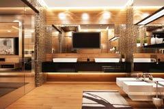 Modern bathroom design in bedroom. Modern bathroom design interior in large bedroom royalty free stock image